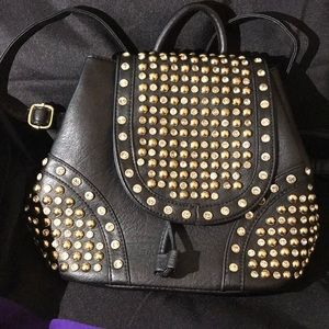 Black Studded Convertible Backpack Purse